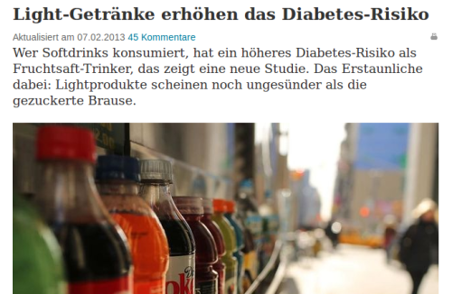 Diabetes durch Light-Getränke?